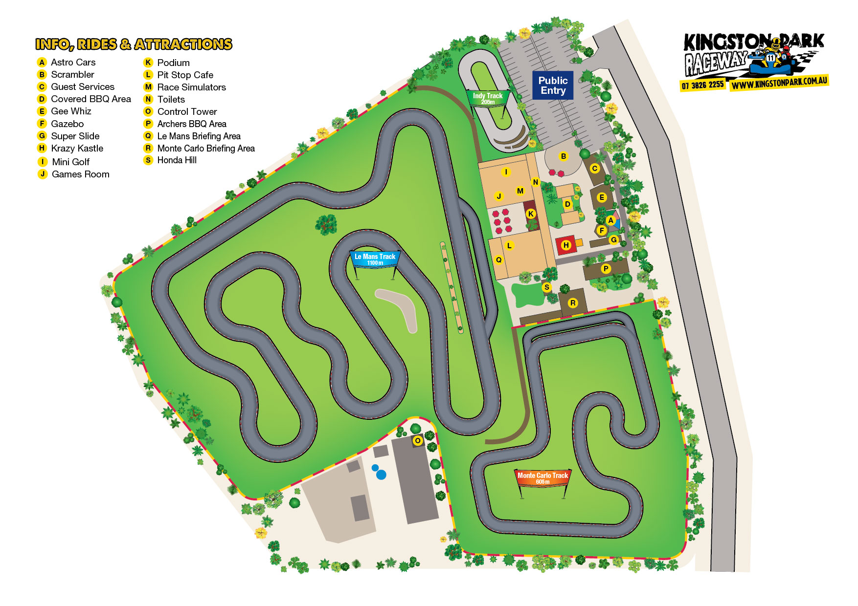 Go Kart Track Map – 3 Tracks – Kingston Park Raceway